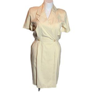 Vintage Pale Yellow Midi Dress